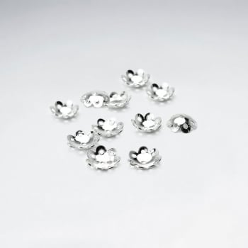 Lotus Flower Inspired Rounded Sterling Silver Bead Caps Pack Of 50 Pieces