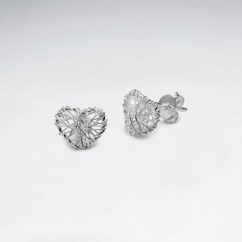Love at First Sight Silver Wirework Heart Stud Earrings