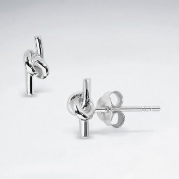 Love Knot Sterling Silver Simple Knot Stud Earrings
