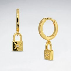 Love Lock Silver Huggie Earring With CZ