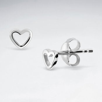 Love Story Openwork Sterling Silver Heart Earrings Studs