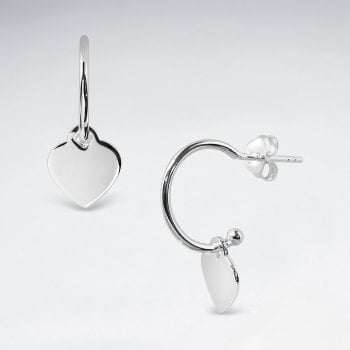 Love Story Sterling Silver Dangle Heart Stud Earrings