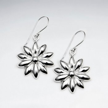 Lovely Flower Blossom Silver Dangle Earrings