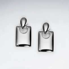Lovely Silver Double Tier Dangle Drop Rectangle Earrings
