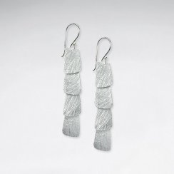 Lovely Silver Rectangle Style Tiered Cascade Dangle Hook Earrings