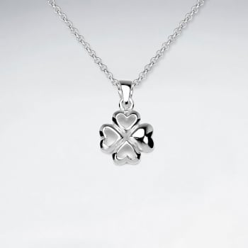 Luck of the Irish Hearts Clover Silver Pendant