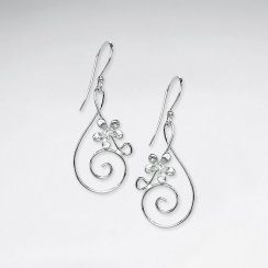 Luxe Ornate Music Note Dangle With Flowers Hook Earrings