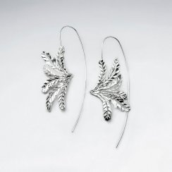 Magnificent Flower Inspired Silver Long Hook Earrings