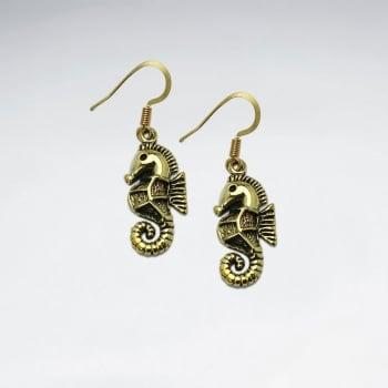 Majestic Brass Detailed Seahorse Hook Earrings