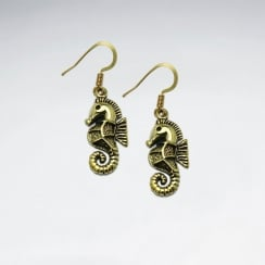 Majestic Brass Detailed Seahorse Hook Earrings