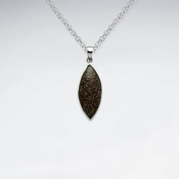 Marquis Shape Natural Wood Silver Pendant