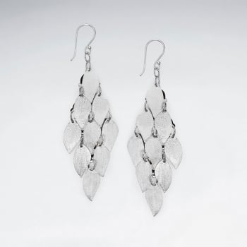 Marquise Cascade Dangle Sterling Silver Earrings