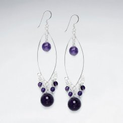 Marquise Silver Earring With Faceted Amethyst
