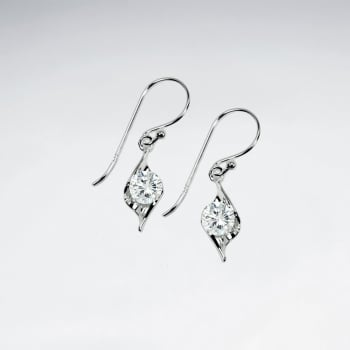 Marquise Solitaire Cubic Zirconia Sterling Silver Earrings