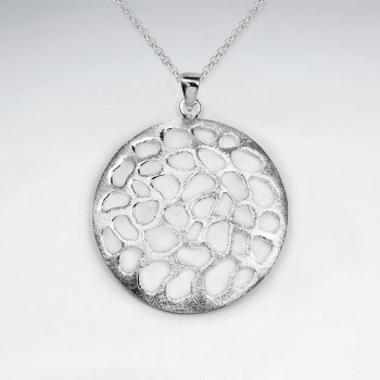 Matte Filigree Disc Large Silver Pendant