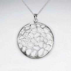 Matte Filigree Disc Large Silver Pendant