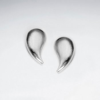Matte Finishing Enchanted Apostrophe Claw Curved Polished Silver Stud Earrings