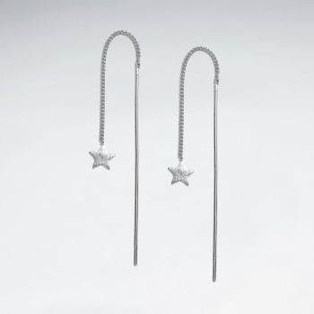Matte Finishing Wish Upon A Star Sterling Silver Threader Earrings