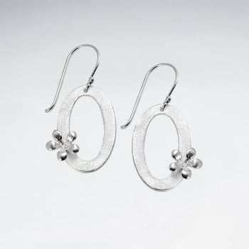 Matte & High Polished Sterling Silver Openwork Oval Wreath Earrings