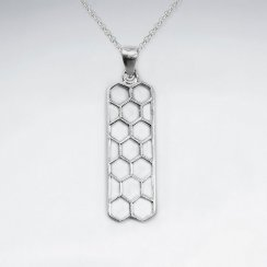 Matte Honeycomb Filigree Rectangle Pendant in Silver
