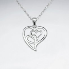 Matte Linking Wirework Silver Mini Hearts in Open Heart Pendant
