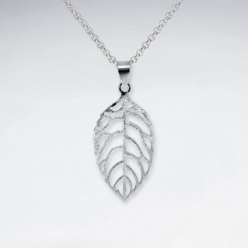 Matte Open Design Leaf Cutout Silver Pendant