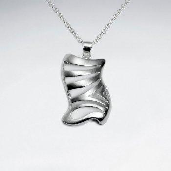 Matte Organic Shape Zebra Stripe Polished Silver Pendant