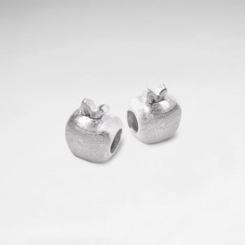 Matte Silver Apple Charm Beads Pack Of 5 Pieces
