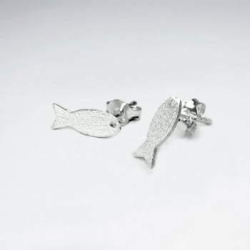 Matte Silver Aquatic Fish Earrings