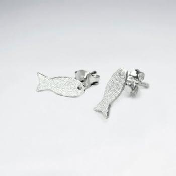 Matte Silver Aquatic Fish Earrings