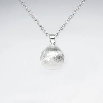 Matte Silver Ball Pendant