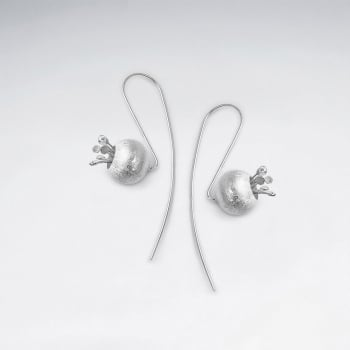 Matte Silver Blueberry Threader Earrings
