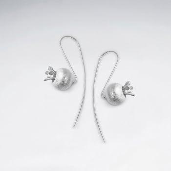Matte Silver Blueberry Threader Earrings