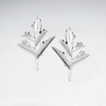 Matte Silver Branching Leaves Earrings