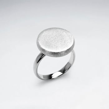 Matte Silver Button Ring