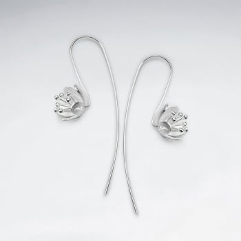 Matte Silver Dainty Blossoms Threader Hook Earrings