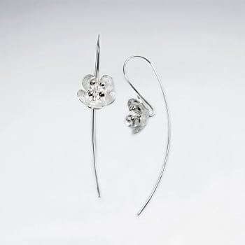 Matte Silver Dawn's First Light Flower Blossom Threader Earrings