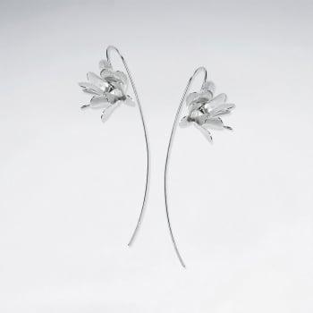 Matte Silver Dimensions Flower Showcase Threader Earrings