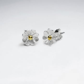 Matte Silver Eight Point Flower Stud Earrings