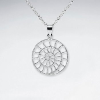 Matte Silver Fossil Shell Inspired Filigree Circle Pendant