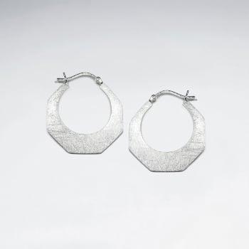Matte Silver Geometric Designs Silhouette Hoop Style Earrings