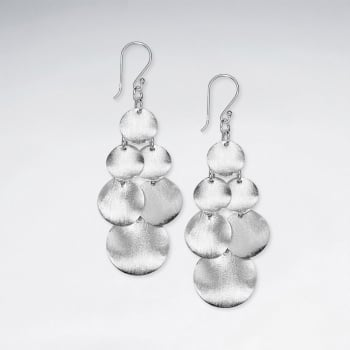 Matte Silver Gradual Circle Silhouette Cascade Dangle Earrings