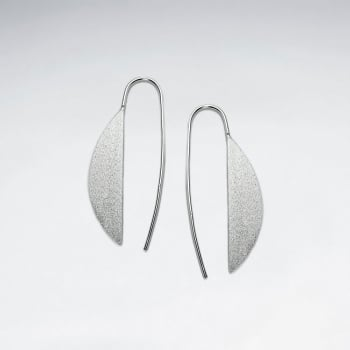 Matte Silver Half Fans Mod Threader Earrings