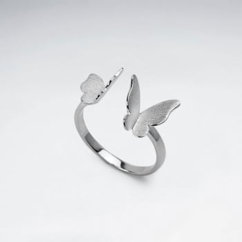 Matte Silver High Polished Double Butterfly Open Ring