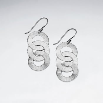 Matte Silver Linking Openwork Circle Cascade Dangle Earrings