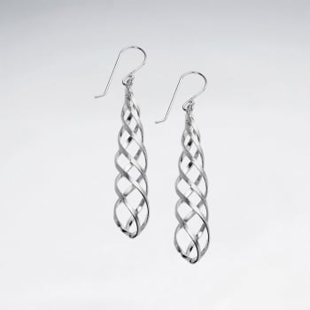 Matte Silver Long Twist Dangle Earrings