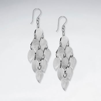 Matte Silver Marquis Cascade Dangle Hook Earrings