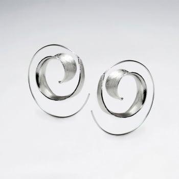 Matte Silver Mod Designs Spiral Loop Earrings