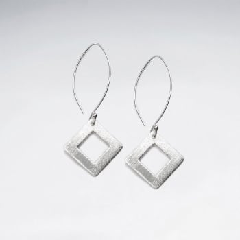 Matte Silver Openwork Marquis Dangle Hook Earrings