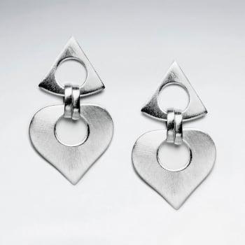 Matte Silver Openwork Modish Double Dangle Stud Earrings